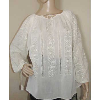 Ivory hand embroidered top,...